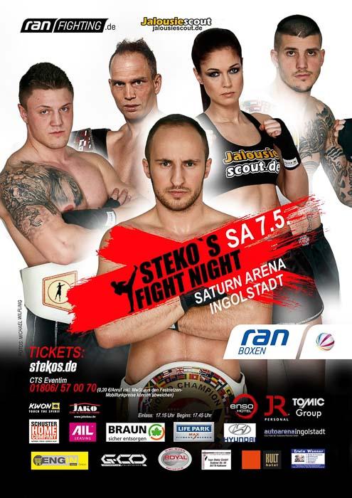 Stekos Kampfsportzentrum München Fight Night Sat.1 ran Boxen WKA WKU ISKA Mai -Saturn Arena Ingolstadt