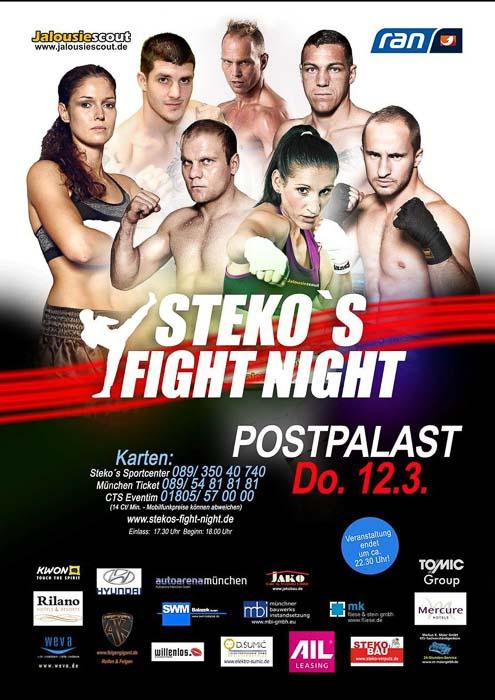 Stekos Kampfsportzentrum München Fight Night kabeleins ran Boxen WKA WKU ISKA März - Postpalast