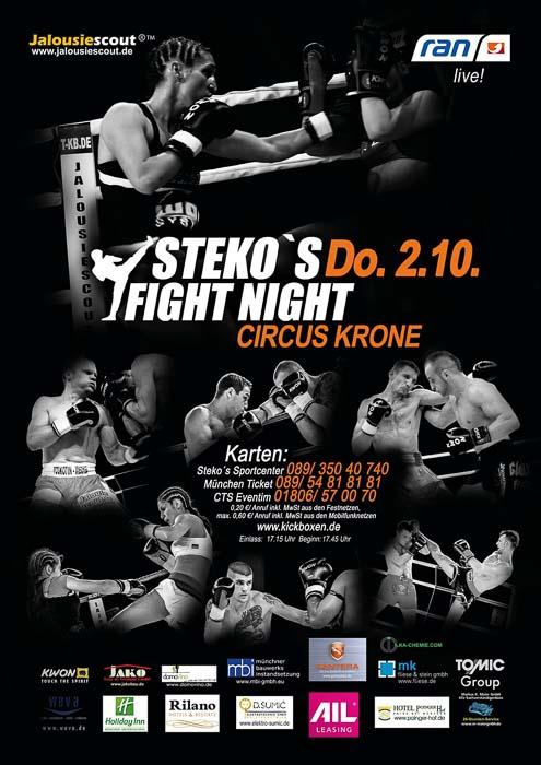 Stekos Kampfsportzentrum München Fight Night kabeleins ran Boxen WKA WKU ISKA Oktober - Circus Krone