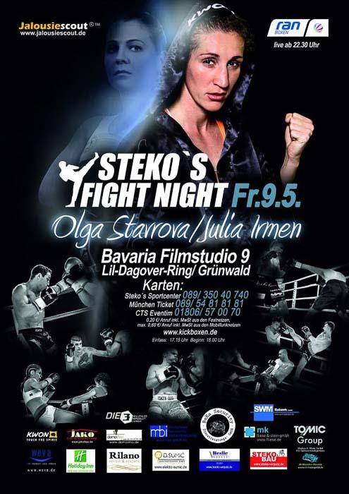 Stekos Kampfsportzentrum München Fight Night Sat.1 ran Boxen WKA WKU ISKA Olga Starrova - Julia Irmen Mai - Bavaria Filmstudio