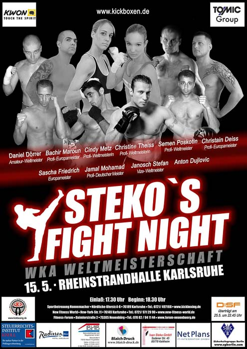 Stekos Kampfsportzentrum München Fight Night WKA Weltmeisterschaft Mai - Rheinstrandhalle Karlsruhe
