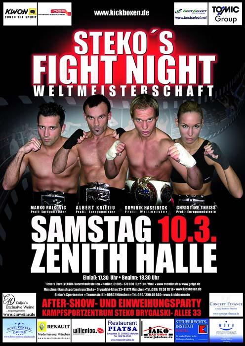 Stekos Kampfsportzentrum München Fightnight WKA-, WKU-, ISKA- Weltmeisterschaft Kickboxen März - Zenith Halle