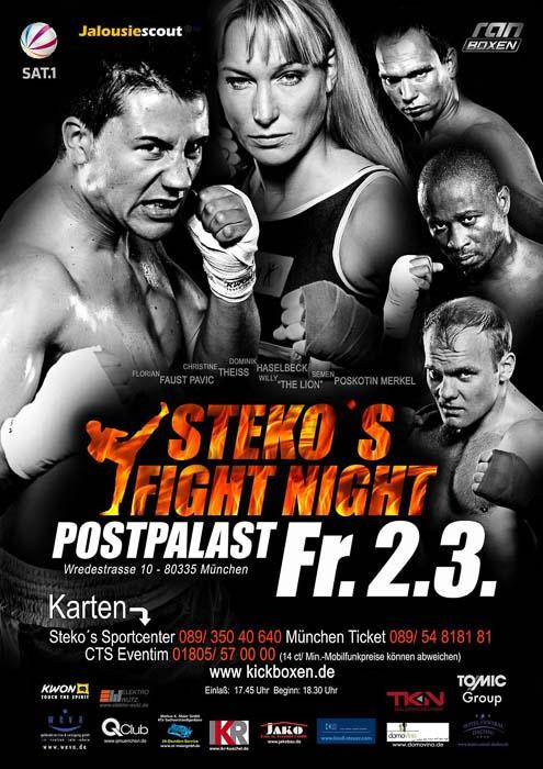 Stekos Kampfsportzentrum München Fight Night Sat.1 ran Boxen WKA WKU ISKA März - Postpalast