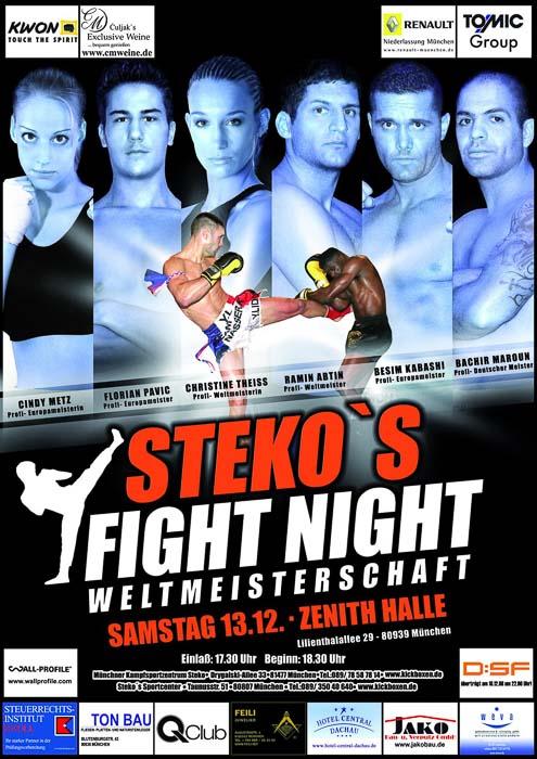Stekos Kampfsportzentrum München Fight Night WKA-, WKU-, ISKA- Weltmeisterschaft Dezember - Zenith Halle