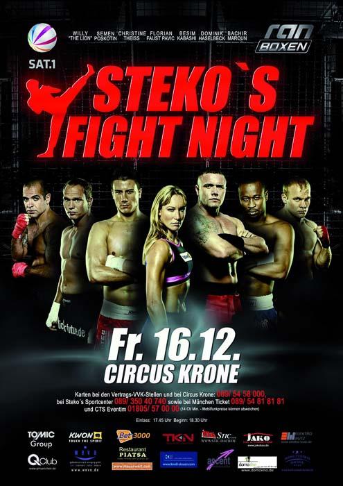 Stekos Kampfsportzentrum München Fight Night Sat.1 ran Boxen WKA WKU ISKA Dezember - Circus Krone