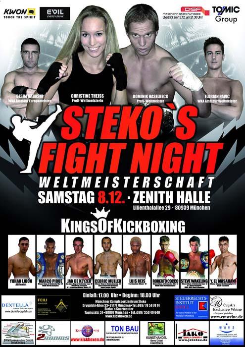 Stekos Kampfsportzentrum München Fightnight WKA-, WKU-, ISKA-Weltmeisterschaft Kings Of Kickboxing Dezember - Zenith Halle