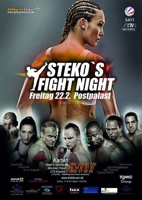 Stekos Sportcenter München Fight Night Sat.1 ran Boxen WKA WKU ISKA Februar - Postpalast