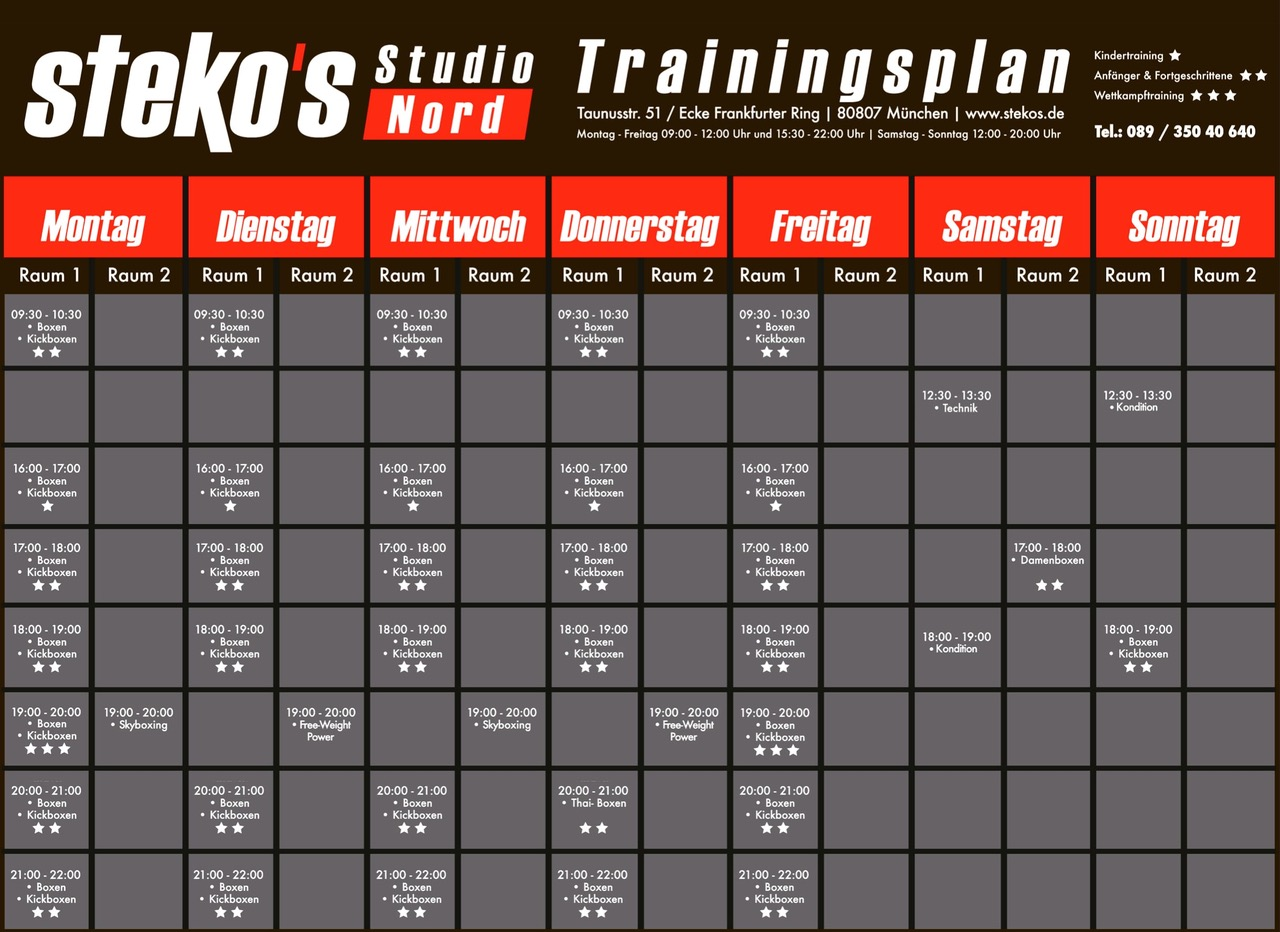 Stekos Studio Nord München Trainingsplan