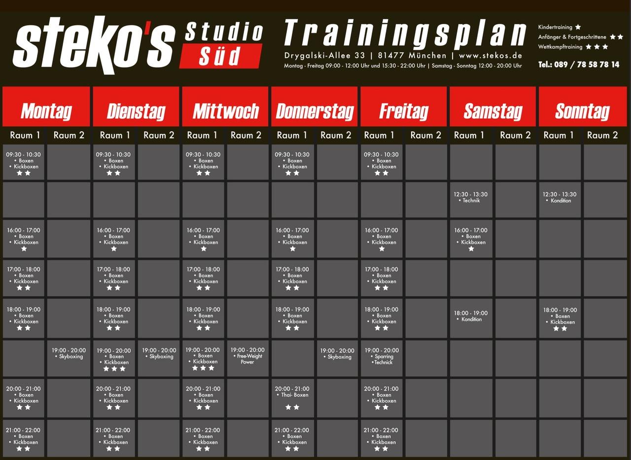 Stekos Studio Süd München Trainingsplan